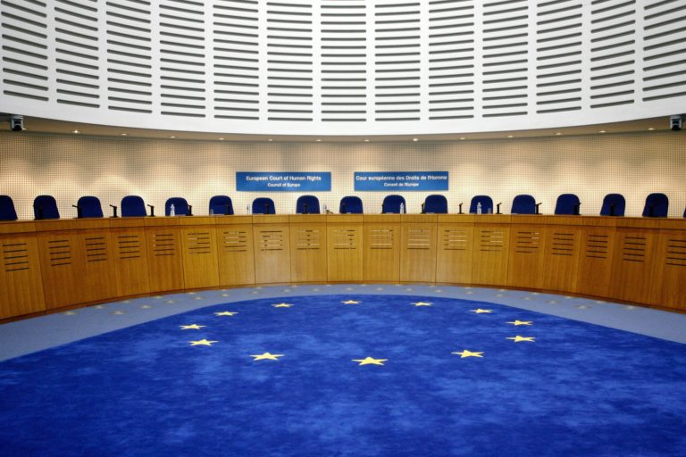 Human rights lawyer in Strasbourg-hearing room